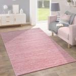 Teppich Kurzflor Modern Trendig Pastellfarben Design Meliert Einfarbig Pink
