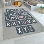 Kinderteppich Kinderzimmer Moderner Lernteppich Waschbar Verspielt ABC Grau Weiß