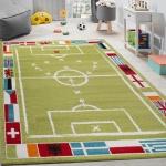 Kinderteppich Fußball Design Kurzflor Fußballfeld Spielteppich Weiß Grün