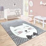 Kinderteppich Kinderzimmer Konturenschnitt Gepunktet Grinsekatze Modern Grau