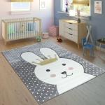 Kinderteppich Kinderzimmer Konturenschnitt Gepunktet Hase Krone Modern Grau