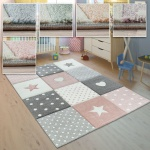 Kinderteppich Kinderzimmer Punkte Herzen Sterne Pastell versch. Farben u. Größen