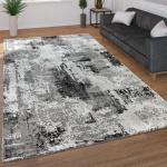Moderner Kurzflor Wohnzimmer Teppich 3D Optik Abstraktes Muster In Grau