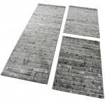 Bettumrandung 3 Tlg Designer Teppich Läufer Steinwand Optik Modern in Grau