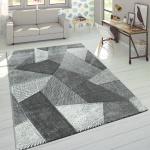 Designer Teppich Moderner Konturenschnitt Trendige Cord Optik Pastell Grau Weiß