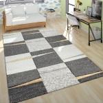 Moderner Kurzflor Teppich Wohnzimmer Design Mehrfarbig Kariert Akzente Gelb