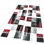 Bettumrandung Teppich Läufer Marmor Optik Karo Rot Grau Schwarz Läuferset 3 Tlg