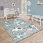 Kinderteppich Pastellfarben Niedliches Hunde Herzen Design Beige Türkis Rosa