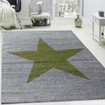 Designer Teppich Stern Muster Modern Trendig Kurzflor Meliert In Grün Grau