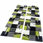 Bettumrandung Läufer Teppich Modern Karo Grün Grau Schwarz Weiss Läuferset 3 Tlg