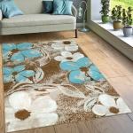 Designer Teppich Wohnzimmer Modernes Blumen Muster Braun Creme Türkis