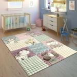 Kinderteppich Kinderzimmer Konturenschnitt Lustige Tiere Bunt Pastellfarben