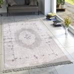 Designer Teppich Wohnzimmer Teppiche Bedruckt Orient Muster Pastell Creme Lila