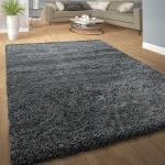 Hochflor Shaggy Teppich Kuschelig Weicher Langflor Moderne Uni Farben In Grau