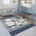 Kinderzimmer Kinderteppich Niedliche Bärenfamilie Und Sterne In Blau Grau Weiß