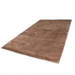 Teppich Handgefertigt Hochwertig 100% Viskose Cord Optik Vintage Glanz Uni Braun