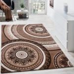 Designer Teppich Kurzflor mit Glitzergarn Klassisch Orientalisch Braun Beige
