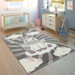 Kinderteppich Kinderzimmer Mädchen Modern Einhorn Auf Wolken In Grau Rosa