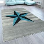 Designer Kurzflor Teppich Modern Streifen Stern Motiv In Grau Blau