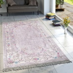 Designer Teppich Wohnzimmer Teppiche Bedruckt Bordüre Floral Pastell Rosa Creme