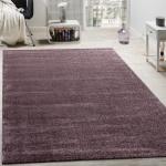 Designer Teppich Frieze Teppiche Luxuriös Schimmer Glanzeffekt Uni Pastell Lila