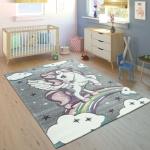 Kinderteppich Kinderzimmer Konturenschnitt Regenbogen Einhorn Bunt Grau