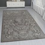 Orient Teppich Modern 3D Effekt Bordüre Ornamente Grau Braun Creme Schimmernd