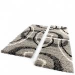 Bettumrandung Läufer Shaggy Hochflor Teppich Grau Schwarz Creme Läuferset 3 Tlg