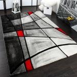 Designer Teppich Karo Modern Handgearbeiteter Konturenschnitt Grau Rot AUSVERKAUF
