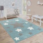 Teppich Kinderzimmer Kinderteppich Große Und Kleine Sterne In Blau Grau