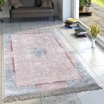 Designer Teppich Wohnzimmer Teppiche Orient Bedruckt Pastellfarben Rosa Blau