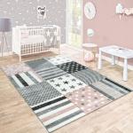 Kinderteppich Kinderzimmer Konturenschnitt Stern Muster Rosa Grau Pastellfarben