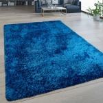 Hochflor Wohnzimmer Teppich Waschbar Shaggy Flokati Optik Einfarbig In Blau