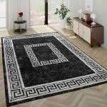 Moderner Kurzflor Wohnzimmer Teppich Orientalisches Muster Bordüre Anthrazit