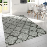 Moderner Kurzflor Wohnzimmer Teppich Marokkanisches Design Meliert In Grau