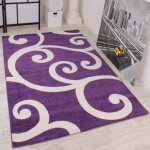 Designer Teppich Muster in Lila Weiss Kurzflor Top Qualität zum Top Preis