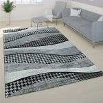 Designer Teppich Modern Mit Handgearbeiteten Konturenschnitt Grau Weiß