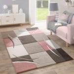 Designer Teppich Modern Konturenschnitt Pastellfarben Mit Karo Muster Beige Rosa
