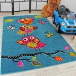 Kinder Teppich Niedliche Eulen Türkis Blau Orange Grün Pink