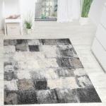Teppich Modern Webteppich Hochwertig Meliert Kariert in Grau Creme Kupferton