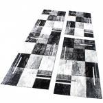 Bettumrandung Teppich Marmor Optik Karo Schwarz Grau Weiss Läuferset 3 Tlg