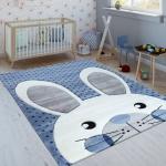 Kinderteppich Indigo Blau Trend Modern Niedlicher Hase Gepunktet 3D Blau