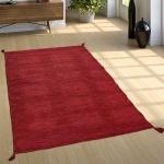 Designer Teppich Webteppich Kelim Handgewebt 100% Baumwolle Modern Meliert Rot