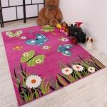 Kinderteppich Schmetterling Butterfly Design Pink Grün Türkis