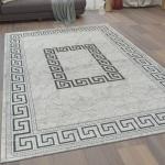 Moderner Kurzflor Wohnzimmer Teppich Versace Muster Bordüre In Grau Schwarz