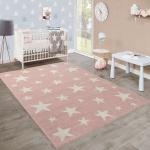 Moderner Kurzflor Kinderteppich Sternendesign Kinderzimmer Pastell Rosa Weiß