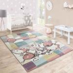 Kinderteppich Spielzimmer Kunterbund Tiere Luftballon Verspielt Karo Mehrfahrbig