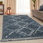 Teppich Wohnzimmer Shaggy Hochflor Modern Karo Rauten Muster In Blau Weiß