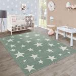 Moderner Kurzflor Kinderteppich Sternendesign Kinderzimmer Pastell Grün Weiß