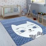 Kinderteppich Indigo Blau Trend Modern Grinsekatze Gepunktet 3D Kurzflor
